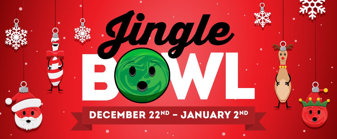 red background with bowlmojis and snow - text says says Jingle Bowl December 22nd to January 2nd