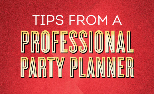 'Tips from a Professional Party Planner' written on top of red foil