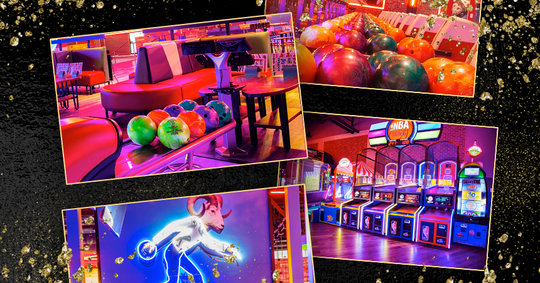 collage of bowling lanes and arcade photos