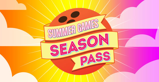 Logo: Summer games Season Pass written on a bowling ball with a sunset sky background and clouds