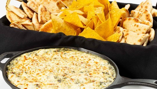 Artichoke Dip with Chips and Pita