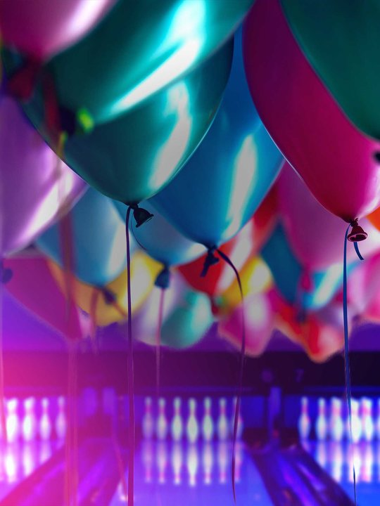 Lanes with multicolored balloons