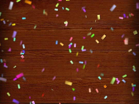wood background with confetti