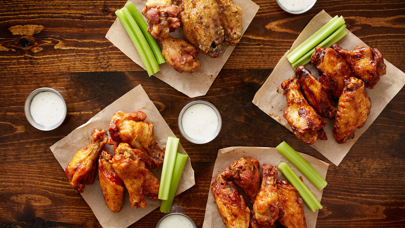 Wings and celery on a napkin